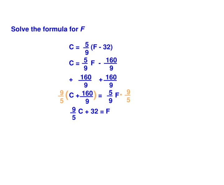 Solve the formula for