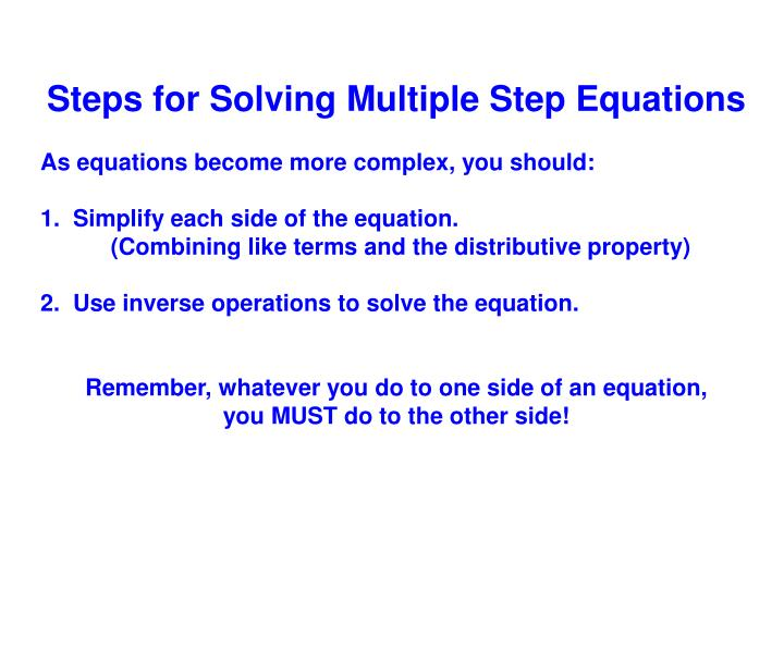 Steps for Solving Multiple Step Equations