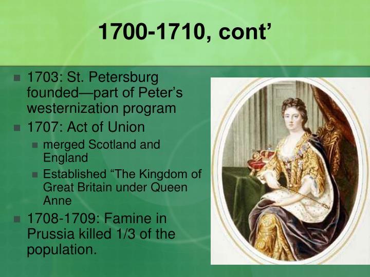 1700-1710, cont'