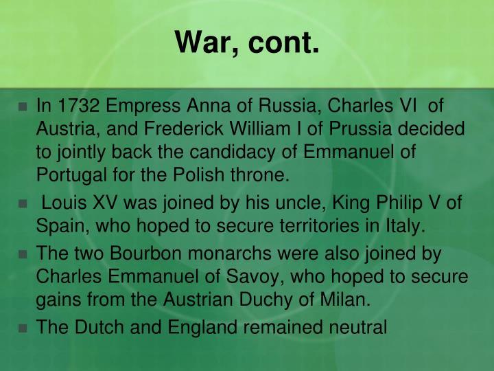 War, cont.