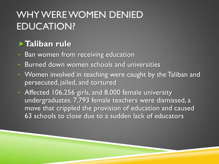 Why were women denied education