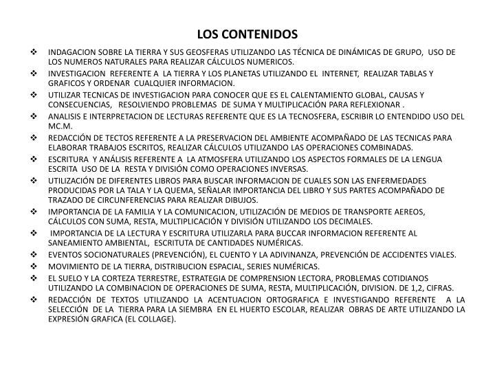 LOS CONTENIDOS