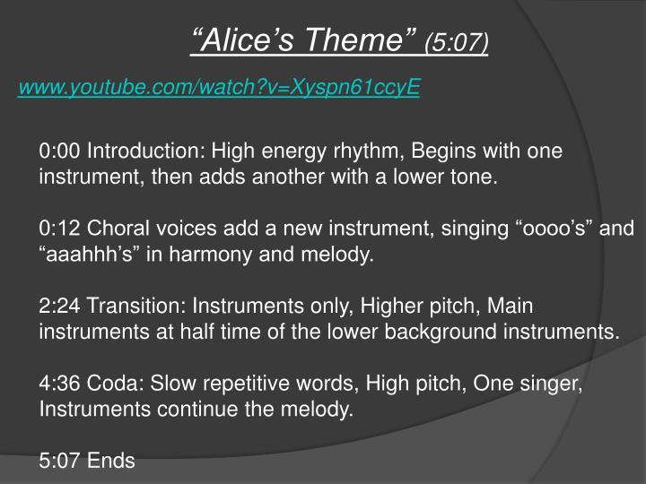 """""""Alice's Theme"""""""