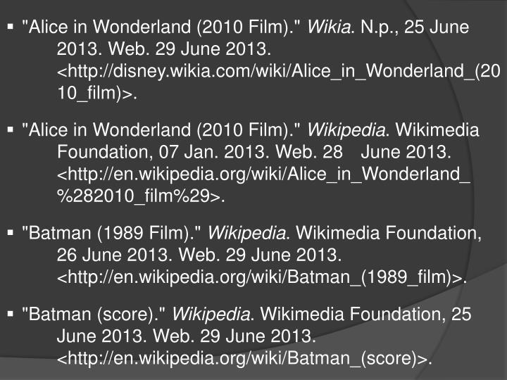 """Alice in Wonderland (2010 Film)."""