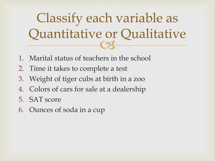 Classify each variable as quantitative or qualitative