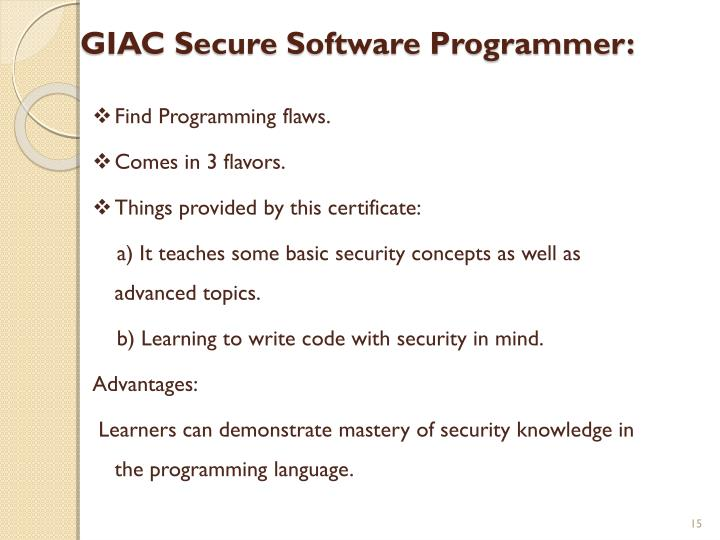 GIAC Secure Software Programmer: