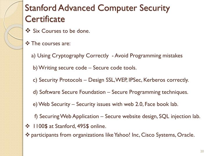 Stanford Advanced Computer Security Certificate