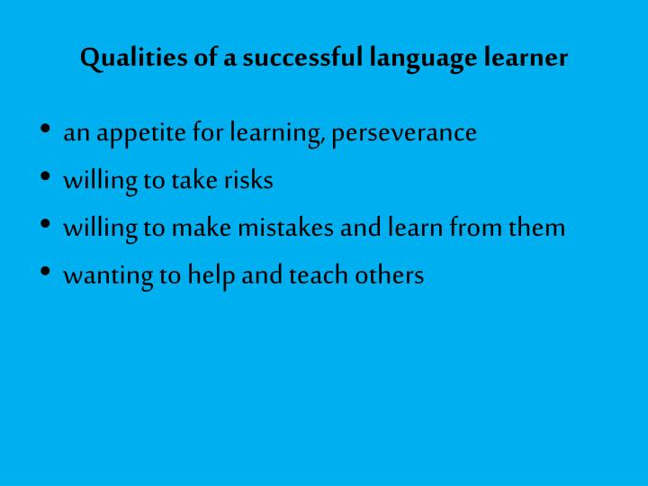 Qualities of a successful language learner