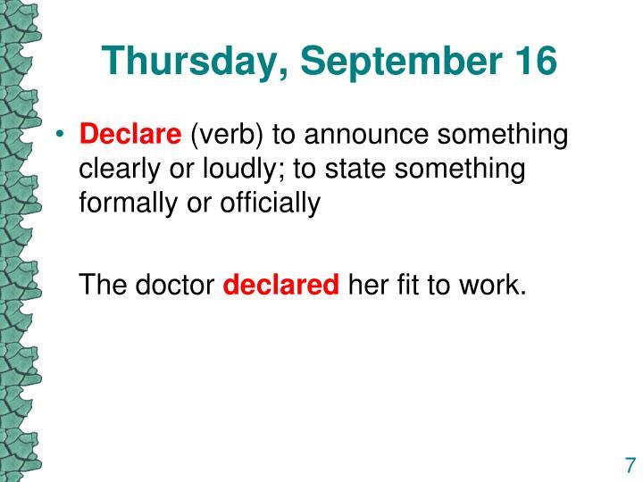 Thursday, September 16