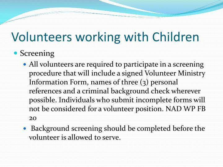 Volunteers working with Children