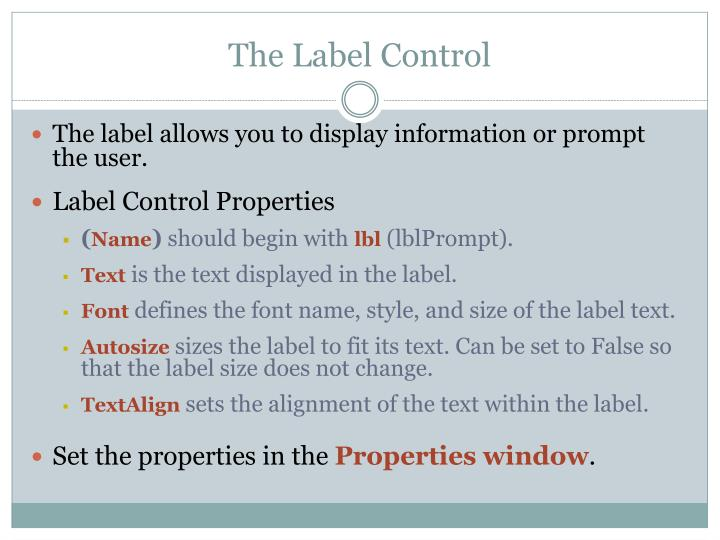 The Label Control