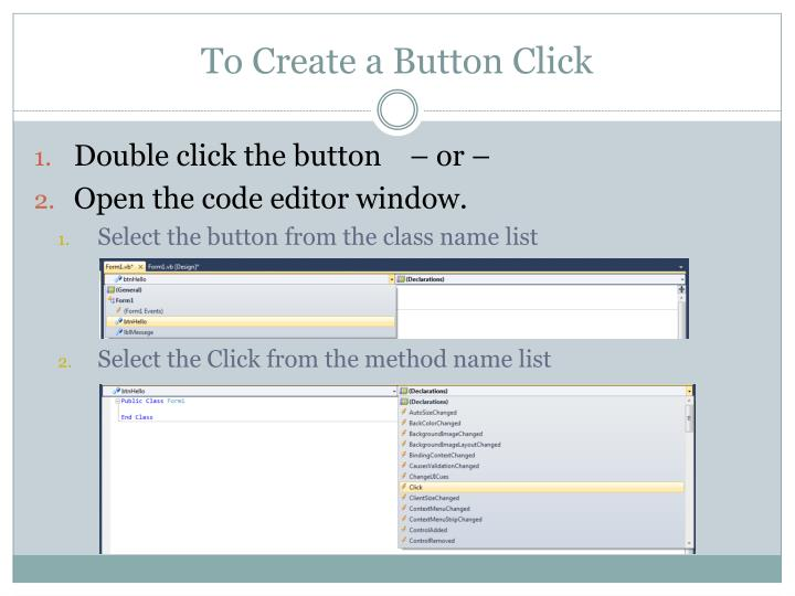 To Create a Button Click