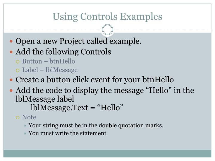 Using Controls Examples
