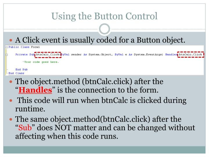Using the Button Control