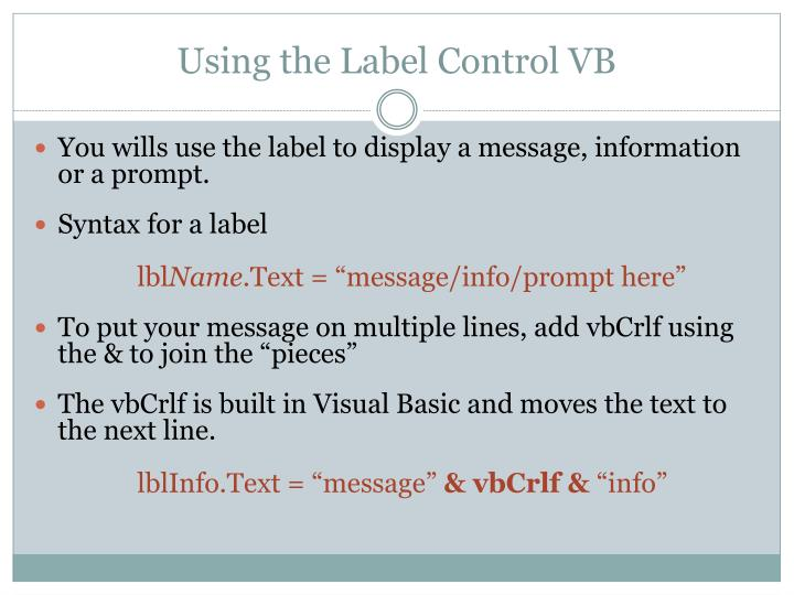 Using the Label Control VB