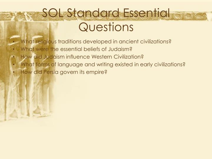 SOL Standard Essential Questions