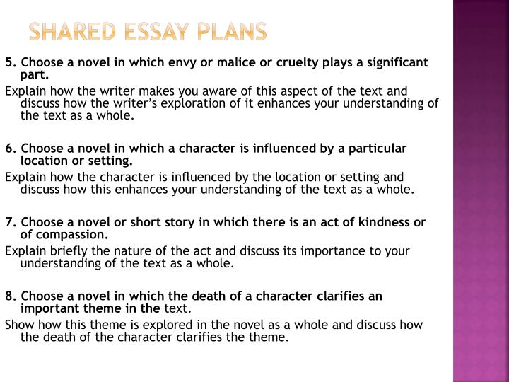 Shared Essay Plans