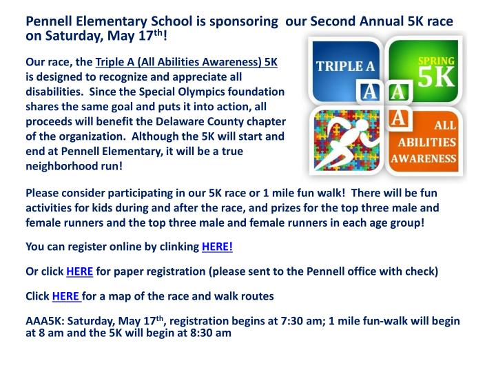Pennell Elementary School is sponsoring