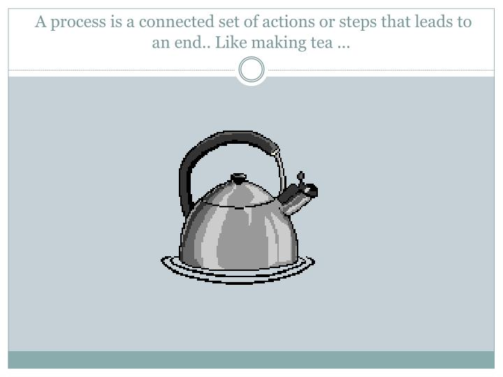 A process is a connected set of actions or steps that leads to an end like making tea