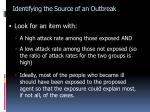identifying the source of an outbreak