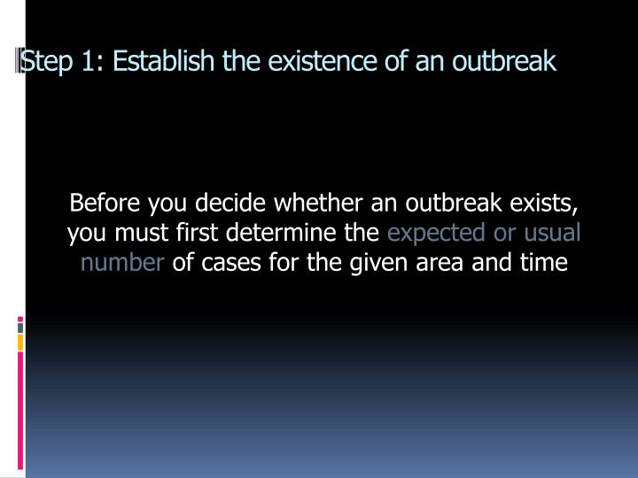Step 1: Establish the existence of an outbreak