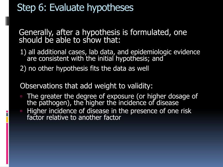 Step 6: Evaluate hypotheses
