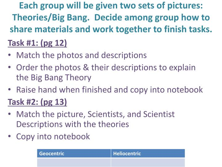 Each group will be given two sets of pictures: Theories/Big Bang.  Decide among group how to share materials and work together to finish tasks.