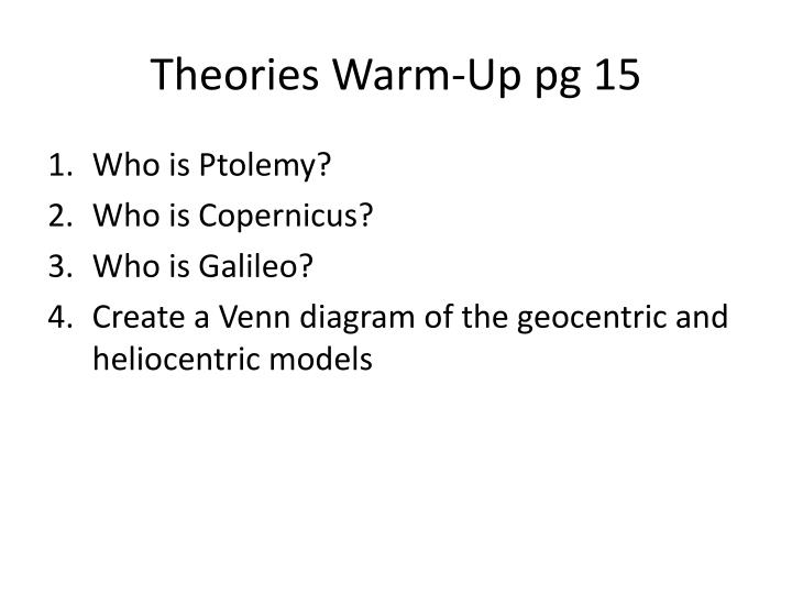 Theories Warm-Up