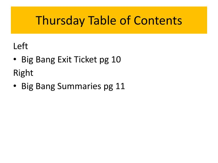 Thursday Table of Contents