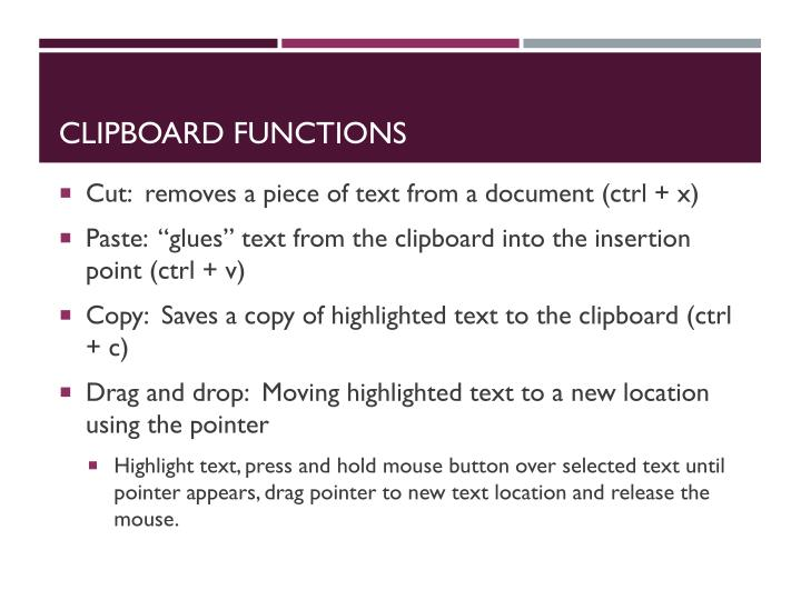 Clipboard functions