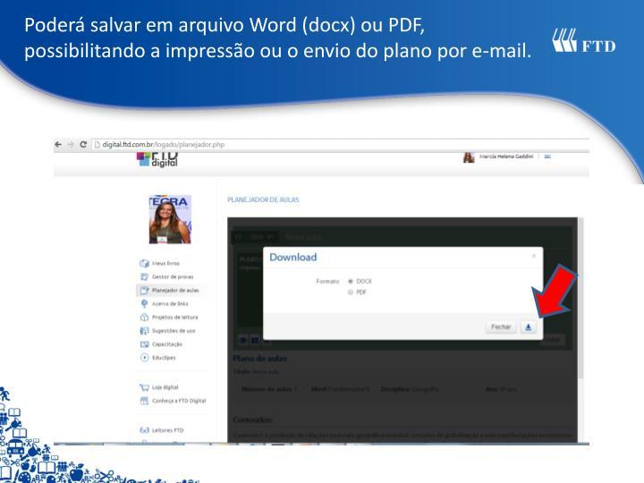 Poderá salvar em arquivo Word (