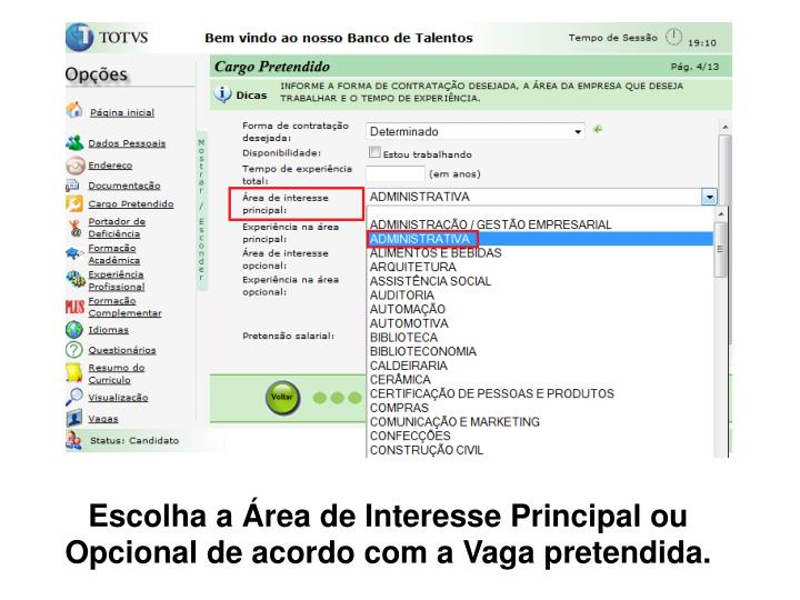 Escolha a rea de Interesse Principal ou Opcional de acordo com a Vaga pretendida.