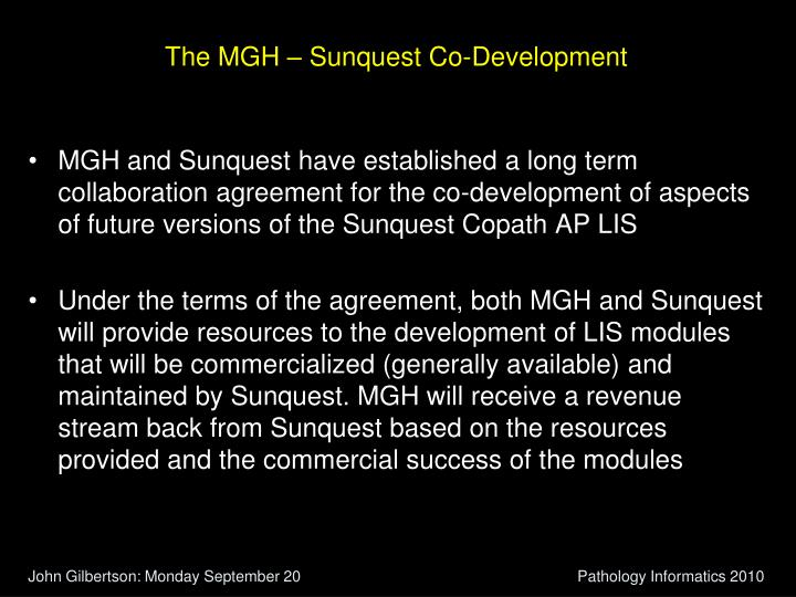 The MGH – Sunquest Co-Development
