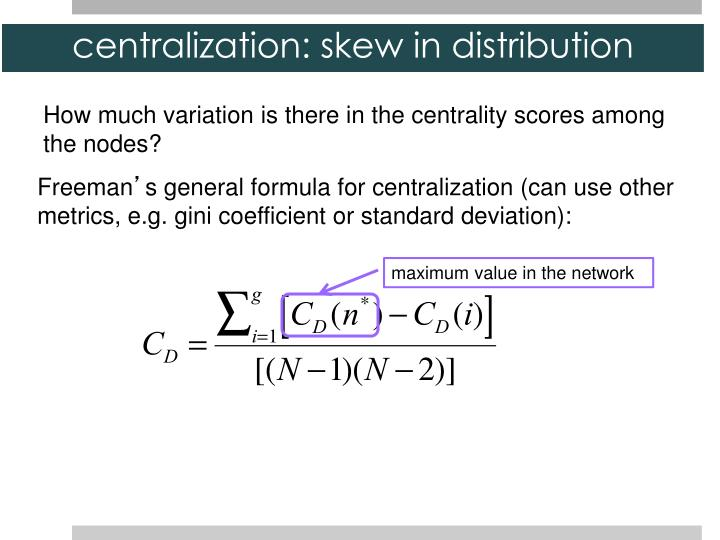 centralization: skew in distribution