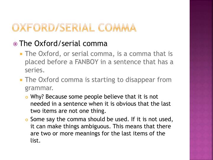 Oxford/serial Comma