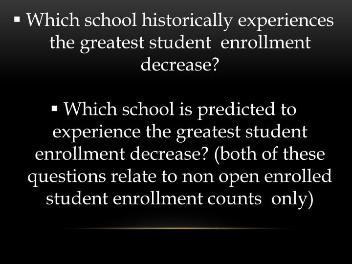 Which school historically experiences the greatest student  enrollment decrease?