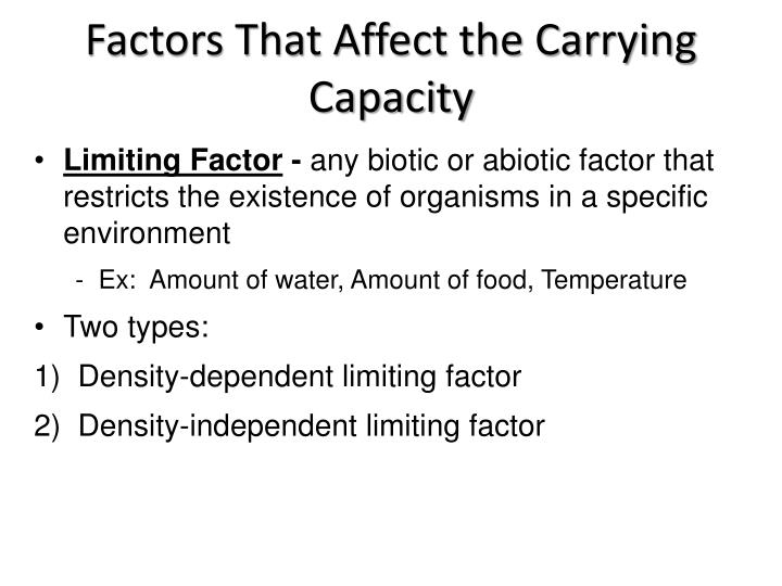 Factors That Affect the Carrying Capacity
