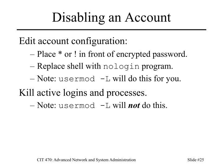 Disabling an Account