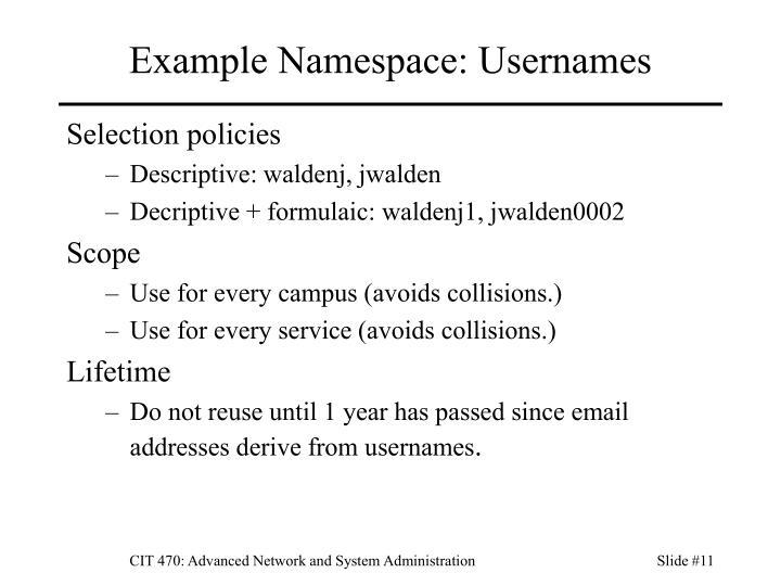 Example Namespace: Usernames