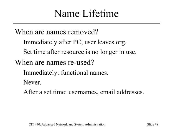 Name Lifetime