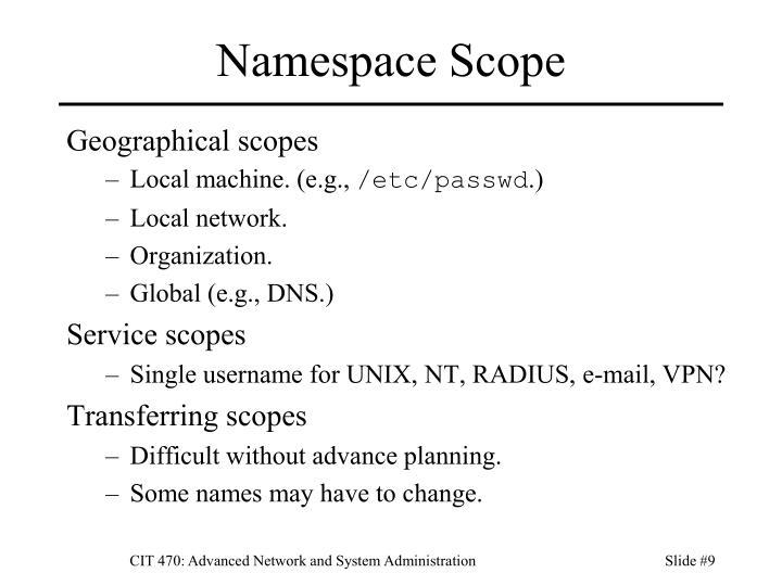 Namespace Scope