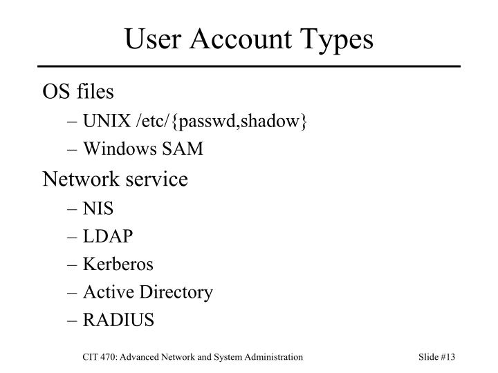 User Account Types