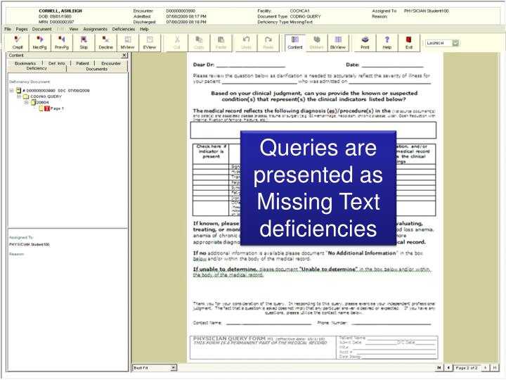 Queries are presented as Missing Text deficiencies