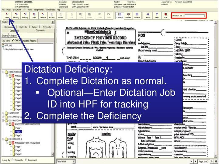 Dictation Deficiency: