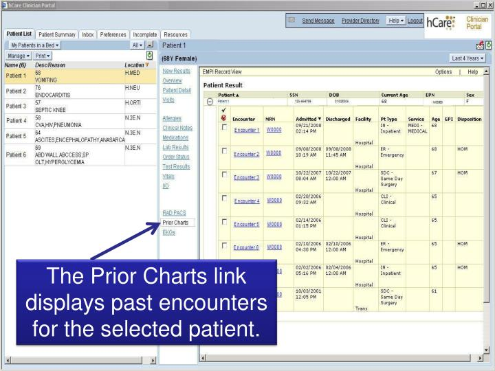 The Prior Charts link displays past encounters for the selected patient.