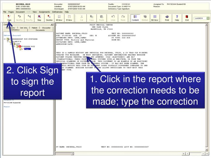 2. Click Sign to sign the report