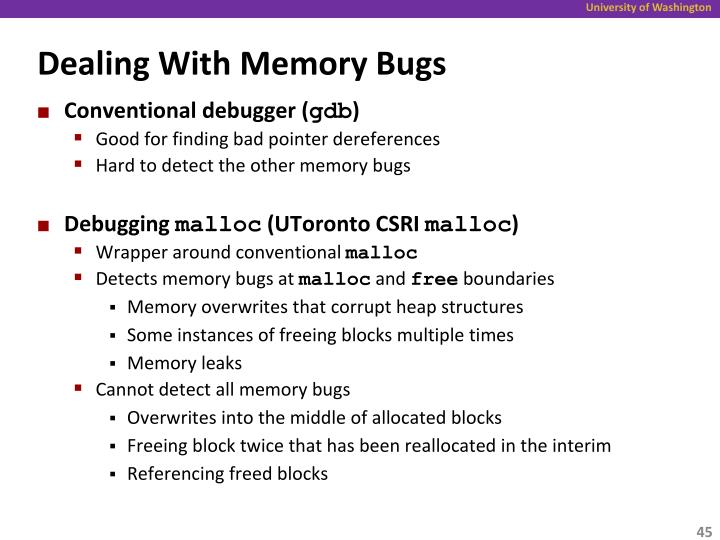 Dealing With Memory Bugs