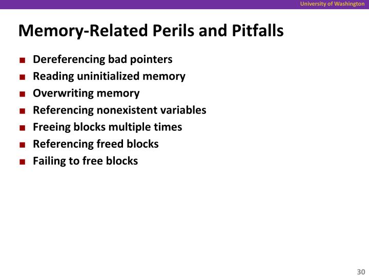 Memory-Related Perils and Pitfalls