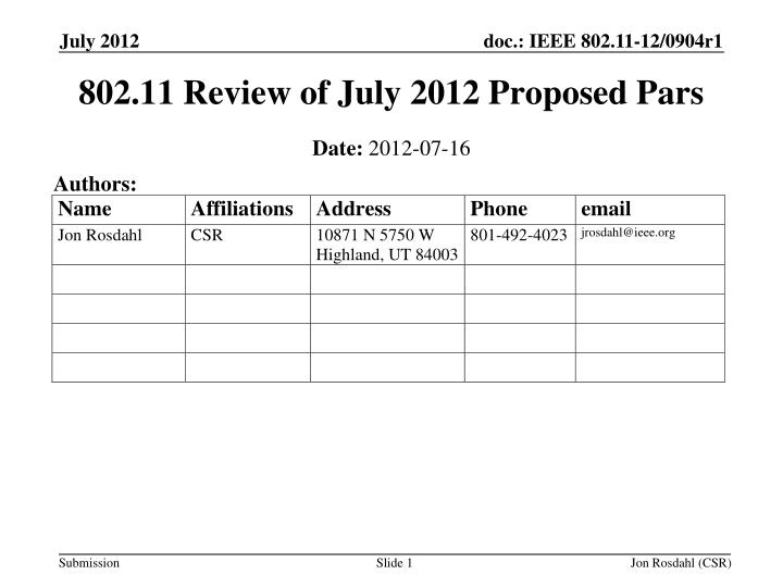 802 11 review of july 2012 proposed pars