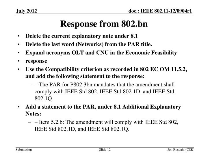 Response from 802.bn